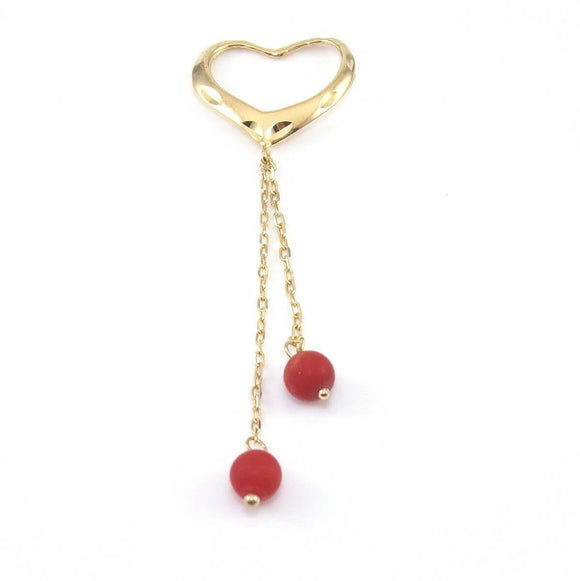14K Yellow Gold Diamond Cut Heart Dangle Coral Bead Pendant