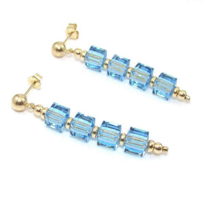 14K Yellow Gold Square Blue Glass Bead Ball Dangle Earrings