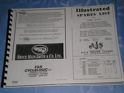 AJS 1954 Motorcycle Illustrated Spare Parts List / Catalogue  Venus/317  #E57