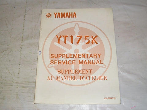 YAMAHA YT175K  YT175 K  1983  Service Manual Supplement  20E-28197-70  #1138