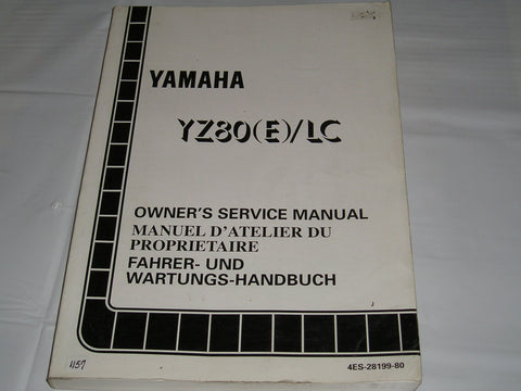 YAMAHA YZ80 E / LC  1993  Owner's Service Manual  4ES-28199-80  #1157