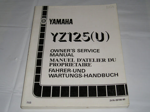 YAMAHA YZ125 U  Competition Motocross 1988  Owner's Service Manual  2VN-28199-80  #1166