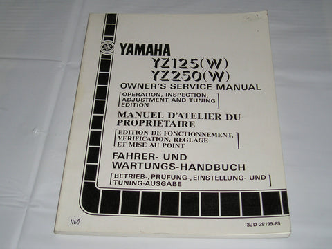 YAMAHA YZ125 W  YZ250 W  1989  Owner's Service Manual  3JD-28199-89  #1167
