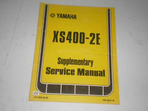YAMAHA XS400 -2E 1978  Service Manual Supplement  2G5-28197-10  LIT-11616-00-80   #1339