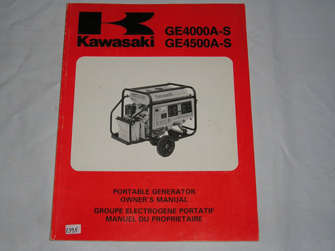 KAWASAKI GE4000 A-S   GE4500 A-S  Portable Generator   Owner's Manual  99922-2136-01  #1395