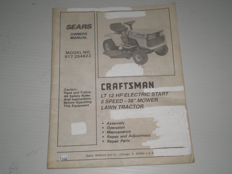 "CRAFTSMAN SEARS 12 HP Electric Start 5 Speed 38"" Mower Lawn Tractor Owner's Manual Model # 917.254622  #1666"