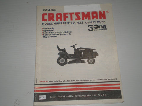 CRAFTSMAN SEARS Tractor  3 One Convertible  14 HP  Model # 917.257552  Owner's Manual  #1670