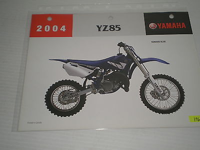 YAMAHA YZ85  2004  Dealer's Information Sheet #196
