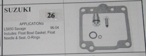 SUZUIKI LS650 Savage 1996-2004 Carburetor Repair Kit  # 26