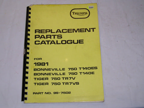 TRIUMPH Bonneville T140 E/ES  Tiger TR7 V/VS 1981  Parts Catalogue  99-7502  #E36
