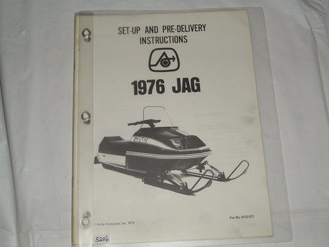 ARCTIC CAT 1976 Jag Set-Up and Pre Delivery Instructions Manual #S206