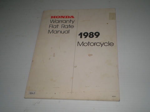 HONDA 1989 Motorcycle  Warranty Flat Rate Manual  NS321  #428.3