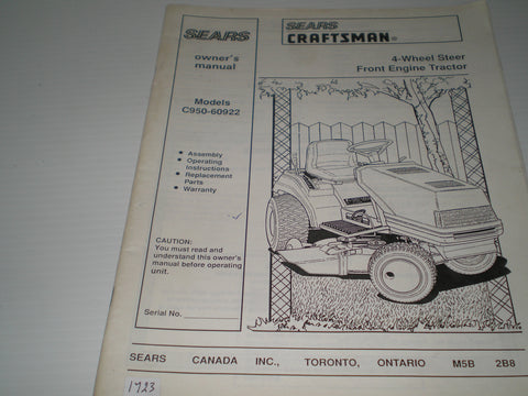 CRAFSTMAN SEARS  4-Wheel Steer Front Engine Tractor  Model # C950-60922  Owner's Manual  #1669
