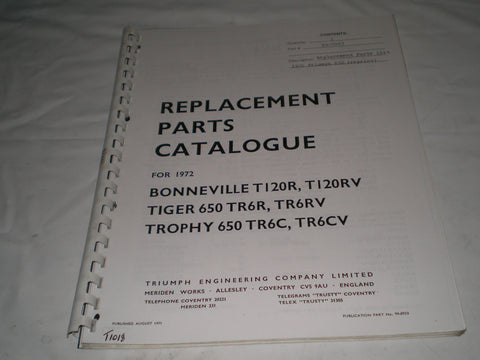 TRIUMPH T120 R/RV  TR6 R/RV/C/CV  1972  Parts Catalogue  99-0953  #E26