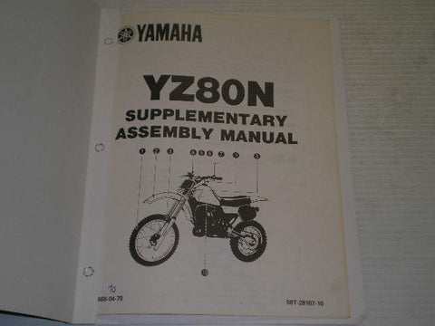 YAMAHA YZ80 N 1985 Supplementary Assembly Manual  58T-28107-10  LIT-11666-04-79