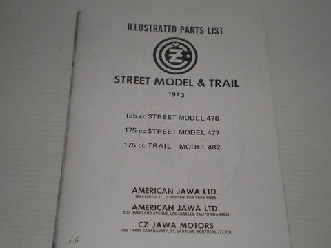 CZ / JAWA 1973  Street Model & Trail  476 - 477 - 482  Parts List / Catalogue  #E67