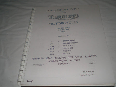TRIUMPH 5T 6T T100 T110 TR5 TR6 1958  Parts Catalogue 13  #E32