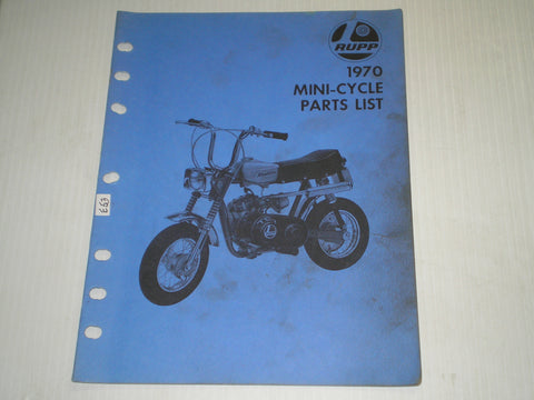 RUPP Roadster Enduro Scrambler Sprint Chopper 1970 Mini-Cycle Parts List / Catalogue  15970  #E81