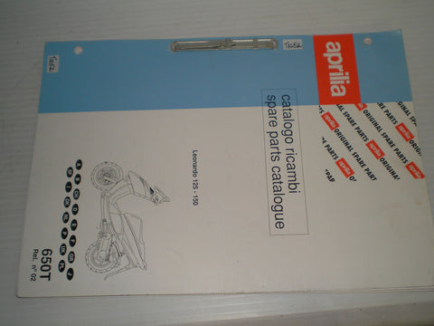 APRILIA Leonardo 125 & 150   Parts Catalogue  650T Rel. No 2  #E93