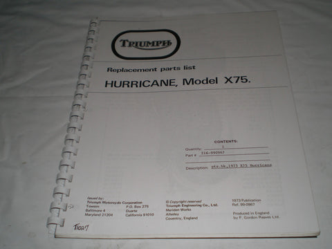 TRIUMPH Hurricane  X75 1973  Parts List Catalogue  99-0967  #E27