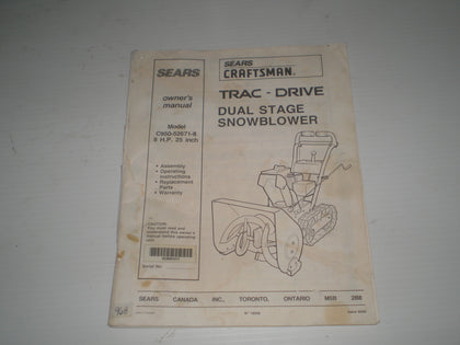 Sears CRAFTSMAN Trac-Drive Dual Stage Snowblower 8HP Owner's Manual  C950-52671-8  #968