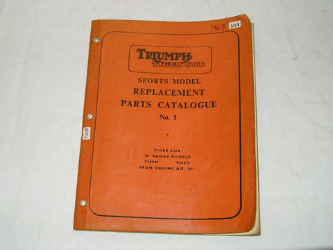 "TRIUMPH T20 Tiger Cub Sports Model ""A"" Range T20 SM/SH 1967  Parts Catalogue No. 1  990/66  #E86"