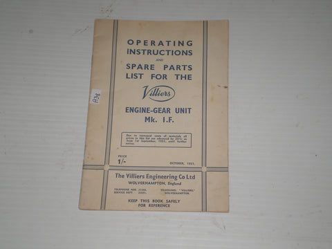 VILLIERS Mk. I.F.  Engine-Gear Unit  Service Manual & Parts Catalogue #A38