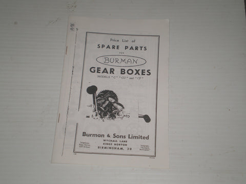 BURMAN Models C / CU / CP  Gear Boxes  List of Spare Parts  #A75