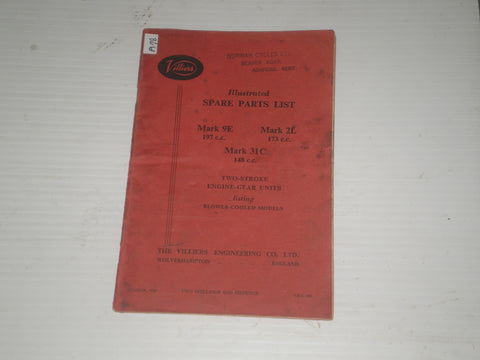 VILLIERS Engines  Mark 9E / 2L / 31C  1958  Illustrated Parts List  V.E.C. 545  #A78