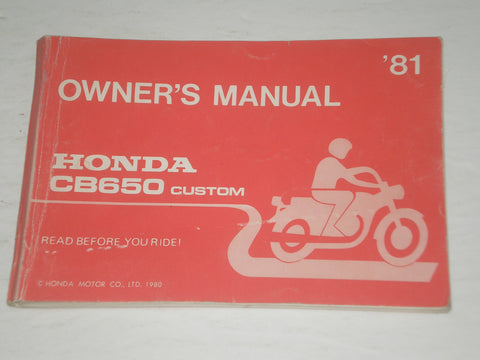 HONDA CB650 C-D  Custom  1981  Owner's Manual  3246001  #A151