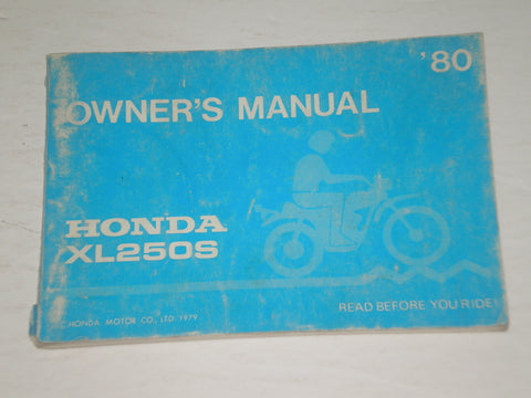 HONDA XL250S A 1980 Dual Sport Motorcycle  Owner's Manual   #A165