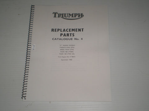 "TRIUMPH 3TA  5TA  T100 A-S/S  ""C"" Range Models 1961  Parts Catalogue No. 4  #E128"