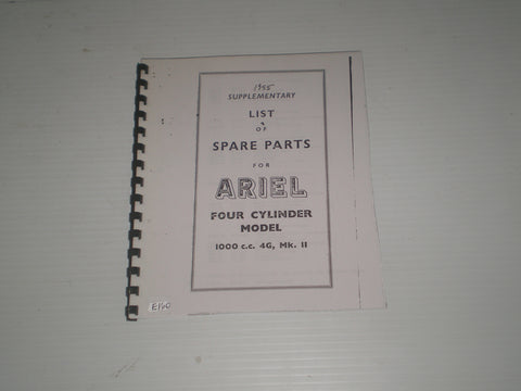 ARIEL 1000cc  4G MK.II 1955  Spare Parts List / Catalogue Supplement  #E160