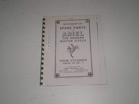 ARIEL Square Four 4G  MK II  Model  1954  Supplementary Spare Parts / Catalogue  #E161