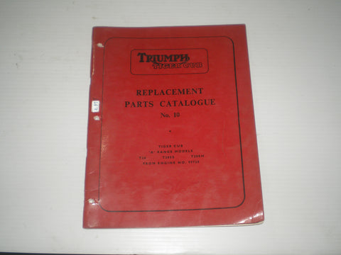 "TRIUMPH T120 SS/SH ""A"" Range Models  Tiger Cub 1965  Parts Catalogue No. 10  910/64  #E117"