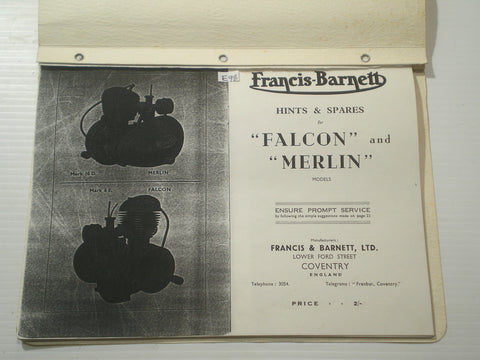 FRANCIS-BARNETT Falcon & Merlin  Hints & Spare Parts List / Catalogue  #E98