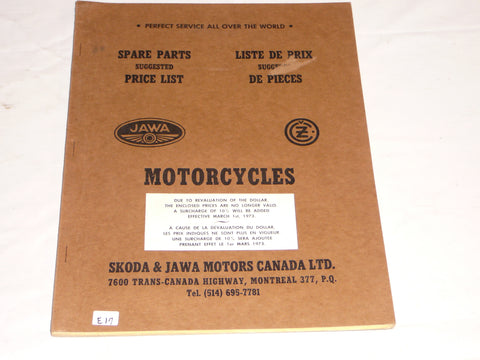 CZ JAWA 1973  Spare Parts Price List Suggestion  #E71