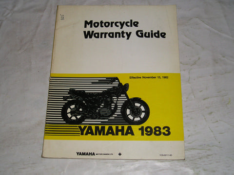 YAMAHA 1982 up  Warranty Guide Manual   YCS-00111-83  #155