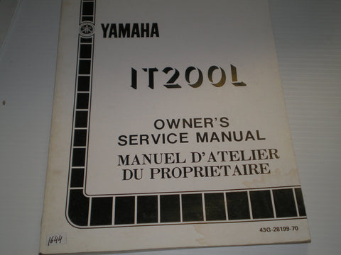 KAWASAKI IT200 L 1984  Owner's Service Manual  43G-28199-70  #1644