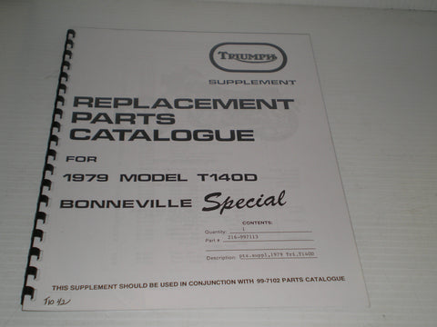 TRIUMPH Bonneville Special T140D 1979  Parts Catalogue  99-7113  #E35