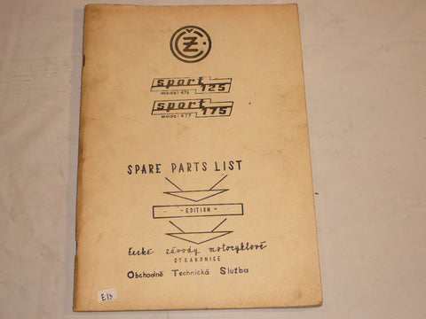 CZ JAWA Sport 125 & 175 cc  1969  Parts List / Catalogue  #E97