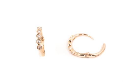 14k Rose Gold and Five Diamond Bezel Set Tiny Hoop