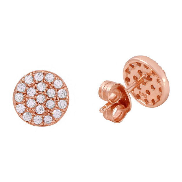 Circle / Disc Full Pave Stud Earrings