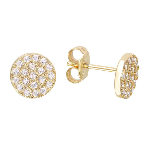 Medium Circle Disc Full Pave Stud Earrings