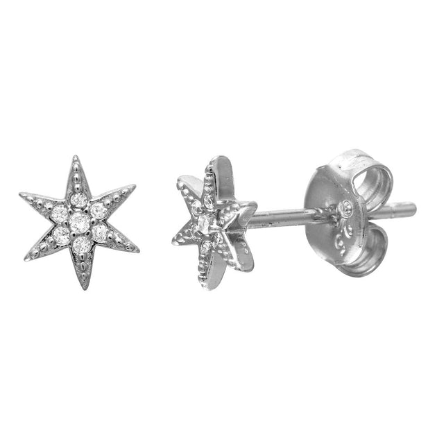 Small 6 Point Star Pave Stud Earrings
