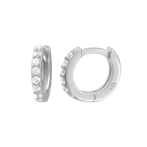 Petite Pave Thin Huggie Earrings
