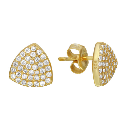 Shield Soft Triangle Pave Stud Earrings