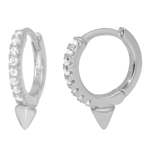 Petite Pave Single Spike Huggie Earrings
