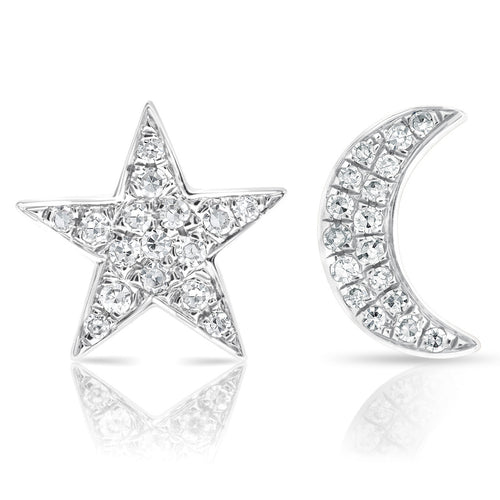 14k Gold and Diamond Moon and Star Mismatch Stud Earrings