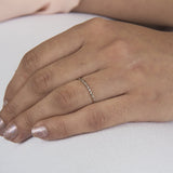 Pinky Ring Diamond Cut Thin Plain Band for Small Fingers
